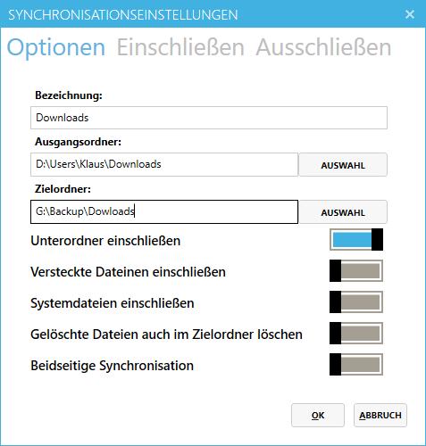 EasySync - Dateien synchronisieren - Synchronisationseinstellungen