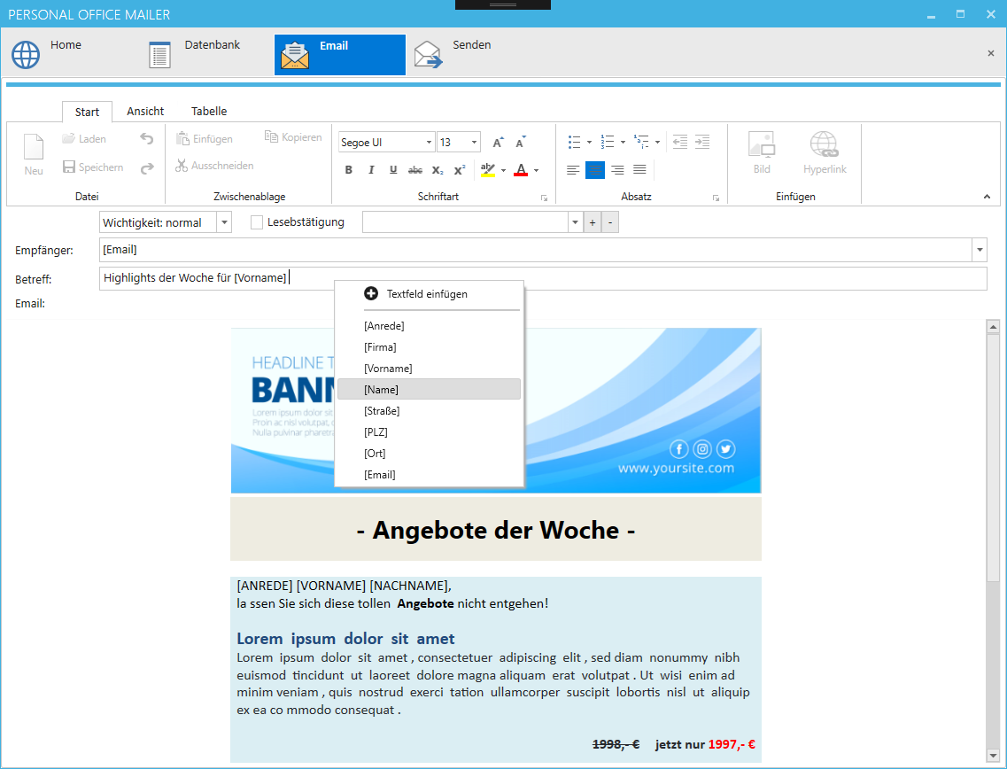 Newsletter senden mit der Newsletterversand Software Personal Mailer