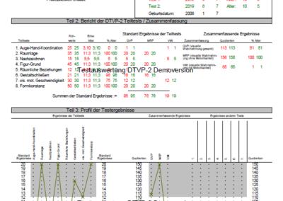 Testauswertung DTVP-2 Vergleichsbogen