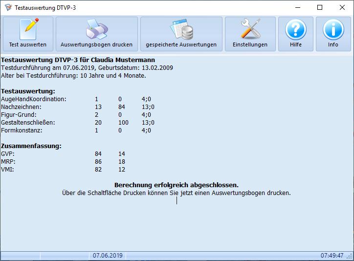 Testauswertung DTVP-3