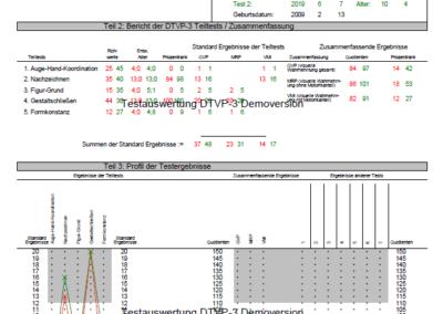 Testauswertung DTVP-3 Vergleichsbogen