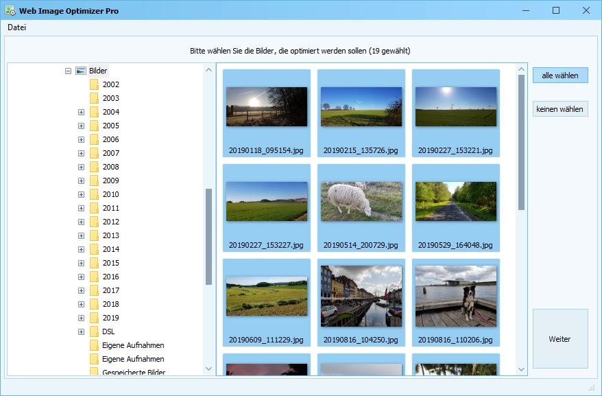 Web Image Optimizer - Bildauswahl