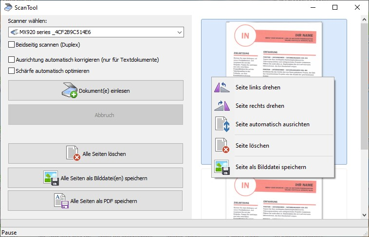 PDF Dateien vom Scanner erstellen
